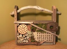Rustic Country Cottage, garden art, Mason Bee house for beneficial bees with bird nest supply, Bug house, driftwood art. Rustic decor