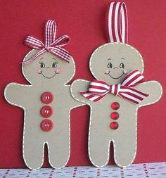 So cute - Gingerbread people I am going to make these as tags as will go so well With Brown (parcel) paper and bakers twine (red & white )