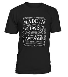 25th Birthday Gift Made In 1992 Awesome  Funny Birthday T-shirt, Best Birthday T-shirt