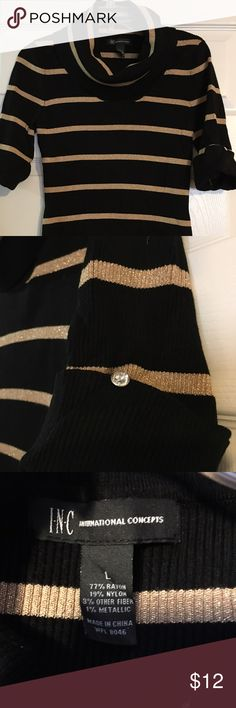 INC short sleeve cowl neck sweater. NWOT NWOT Size Large INC sweater with cowl neck & short sleeves.  Has metallic stripes & rhinestone buttons at cuffs. Purchased but never wore.  Will fit medium or large due to the stretch in the material. Sweaters
