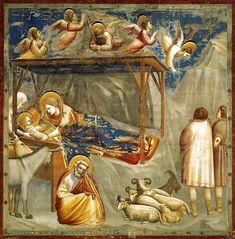 Giotto di Bondone, Naixement, murals de la Capella de l'Arena, Pàdua, c. 1305. Noli Me Tangere, Fra Angelico, Art Visionnaire, Giorgio Vasari, Gauguin, Life Of Christ, Birth Of Jesus, Baby Jesus, Mystique