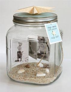 Maybe use mason jars with photos in them?