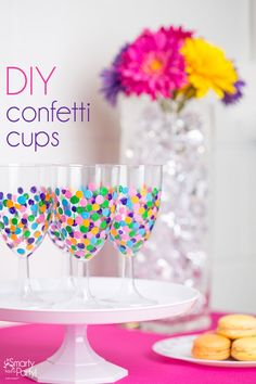 Cue the confetti! It's time to craft. Make your own DIY Confetti Cups. | SmartyHadAParty.com