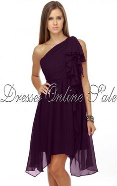 Affordable Sheath Knee-length One Shoulder Purple Chiffon Dress