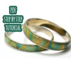 PDF tutorial: polymer clay polished bracelet with stone effect
