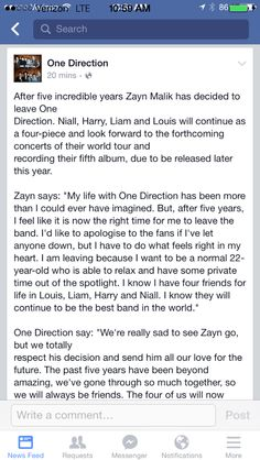 im so sad but i have so much respect for zayn and will always be proud of him <3