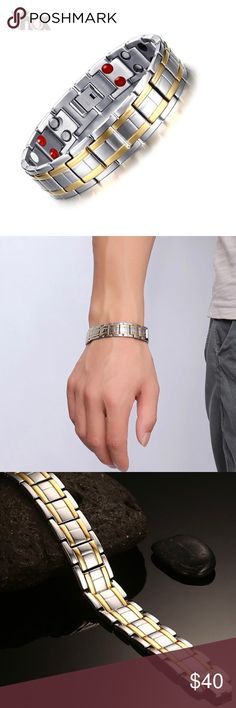 """15MM Stainless Steel Magnetic Therapy Bracelet Brand new Price firm No trades  Bracelet is of high grade stainless steel metal. Color silver polished finish and gold outline polished. Bracelet will not turn your skin green good for sensitive skin.   Length is 8.5"""" it is adjustable I will include tool to remove links, and width is 15mm. Long term wear hematite magnetic can help reduce stress and anxiety and help improve overall mood.                              ~Gift box included…"""