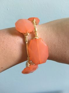 Coral Geo Bead Bangle - Single Bangle - Wire Wrapped Bracelet - Geo Beads - Coral - Bourbon and Boweties Inspired by HolyCityBeads…