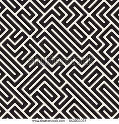 Irregular Maze Line. Vector Seamless Black and White Pattern. Geometric Background, Geometric Art, Geometric Designs, White Patterns, Cool Patterns, Textures Patterns, Jaali Design, Dot Tattoos, Geometry Pattern