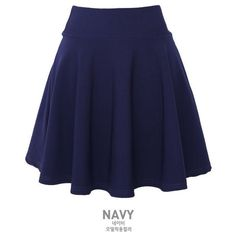 Elasticized Skater Skirt (165 GTQ) ❤ liked on Polyvore featuring skirts, bottoms, saias, elastic waist skirt, blue skater skirt, flare skirt, circle skirt and blue circle skirt
