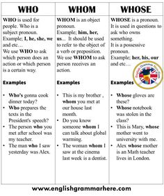 How to Use Who, Whom, Whose in English Table of Contents Using WhoseUsing WhomUsing Who Using Whose . English Verbs, Learn English Grammar, Learn English Words, English Phrases, English Language Learning, Teaching English, English Writing Skills, English Reading, English Study