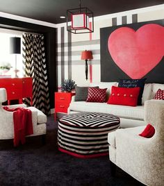 Jennifer Brouwer Design: Fun Bold Living Room Design With Oversize Black,  White And Red Painted Plaid Wall.