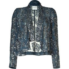 ANTIK BATIK Midnight Green Sequin-Embellished Cardigan ($267) ❤ liked on Polyvore featuring jackets, outerwear, blazers, cardigans, tops and antik batik