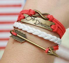 Arrow Bracelet Bronze Bracelet 8 One Direction Bracelet White Lather Friendship Figure Infinity Charm Jewelry - Christmas on Etsy, $3.49