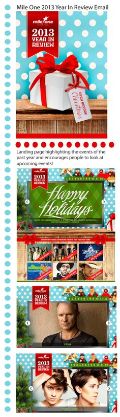 Mile One Centre - great PACMail highlighting the events of the past year and encourage people to look at upcoming events! Takes you to main site with a slide show of event images.