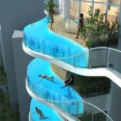 Mumbai, India. A pool in a balcony.