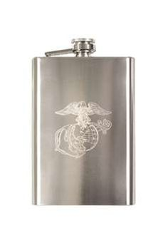 Globe And Anchor Engraved Flask ! Buy Now at gorillasurplus.com