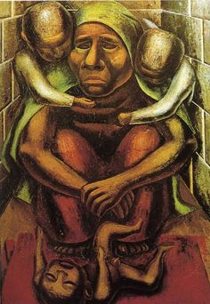"Proletarian Mother. 1929. Oil on burlap. 249 x 180 cm. Museum of Modern Art, Mexico, Mexico. David Alfaro Siqueiros (1896 – 1974) was a Mexican painter and one of the founders of the Mexican Mural Movement, one of the ""Big Three"", with Jose Clemente Orosco and Diego Rivera."