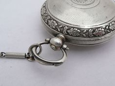 Rare Antique 44Mm Silver Turkish Ottoman Billodes Zenith Pocket Watch & Chain 7