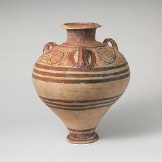 Terracotta pithoid jar Period:     Late Helladic IIIA2 late Date:     ca. 1325–1300 B.C. Culture:     Mycenaean Medium:     Terraco...
