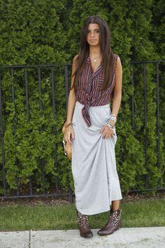 #maxiskirt look for #fall on the blog..#betseymonroe #tietop #francosarto #cowboyboots #blogger #fashionblog #fashionroll