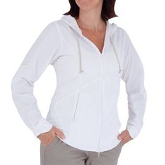 The Royal Robbins Women's Windsong Hooded Jacket is a comfortable, lightweight Jacket for those days when the air is just a bit cool. If it warms up later on the sleeves easily roll up and can be secured by a tab to keep them out of the way. The Windsong is all-nylon so it's moisture-wicking quick-drying and wrinkle resistant. 70$ #womanspringjacketplussize