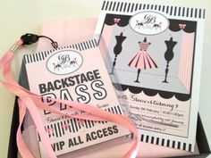 Fashion Show backstage pass and invitation oh la la so cute. These would be cute to make and then you can add the girls pictures on the back from after their makeover. these would be great favores Paris Birthday, 11th Birthday, Birthday Party Themes, Girl Birthday, Birthday Ideas, Birthday Stuff, Birthday Wishes, Fashion Show Themes, Fashion Show Party