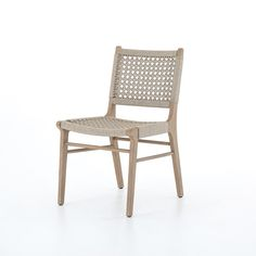 Simply stylish, indoors or out. Washed brown teak frames woven ivory rope, making a texture-driven statement. Cover or store inside during inclement weather and when not in use. Dimensions: x x Polypropylene, TeakColor: Washed Brown Outdoor Dining Chairs, Outdoor Furniture, Outdoor Living, Woven Dining Chairs, Tree Furniture, Woven Chair, Backyard Furniture, Cottage Furniture, Indoor Outdoor