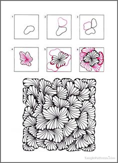 Ginili pattern by Randi Wynne-Parry zentangle tangled tangle tangles doodle doodles art calm peaceful relaxation relax unwind meditation Doodles Zentangles, Zentangle Drawings, Doodle Drawings, How To Zentangle, Zentangle Art Ideas, Easy Zentangle Patterns, Art Doodle, Tangle Doodle, Zantangle Art
