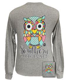 Girlie Girl Southern Originals Classy Preppy Owl Gravel Long sleeve T Shirt