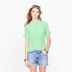 J.CREW Blythe blouse in silk in Sea Glass, 00P - Love this blouse fit, feel and colour. Want more colours!