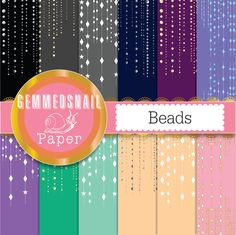 Beads digital paper, diamonds, gold, silver gems scrapbook paper x 12 beaded backgrounds