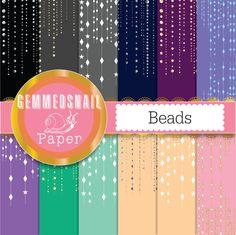Beads digital paper, diamonds, gold, silver gems scrapbook paper x 12 beaded backgrounds