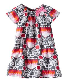 Take a look at this Antwerp Gray Floral Retro Dress - Infant, Toddler & Girls on zulily today!