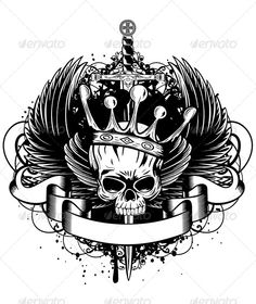 Skull with Crown, Wings and Sword #graphicriver