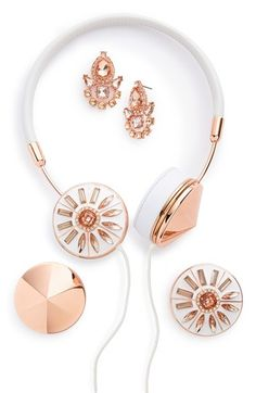 Frends x BaubleBar 'Layla' Headphones | Nordstrom In rose gold and white. Talk about over the top!