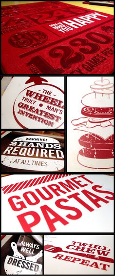 I was recently at Boston Pizza and immediately fell in love with the design of there menu (so I HAD to take some pictures!). In my option, the menu was a pleasure to read and view. The clean design allowed the red to really POP off the page and also allowed the creative (and fun) use of typography and graphic illustrations to stand out. Who ever designed the menu - amazing job!