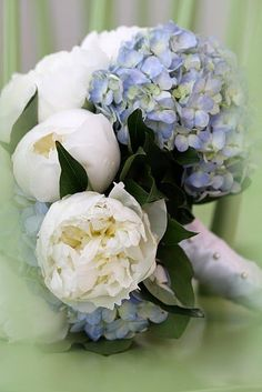 White peonies and blue hydrangea bouquet..only missing the gardenias and then it'd be perfection!