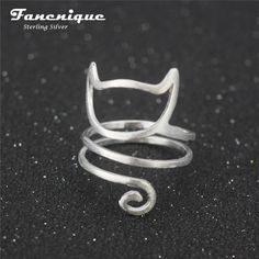 925 Sterling Silver Twine Cat Ring Young Girl Jewelry 925 Sterling Silver Rings For Women Adjustable Freeshipping