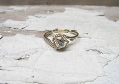 Half Carat Naples Diamond Engagement Ring - 14kt Gold and Diamond Customizable Twig Engagement Ring