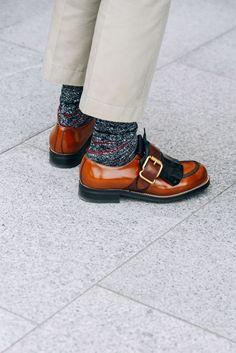 July 4, 2016  Tags Brown, Prada, Paris, Shoes, Men, Grey, Socks, Khakis, FW16 Women's Couture