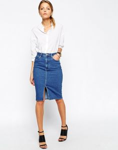 ASOS Split Front Denim Midi Pencil Skirt
