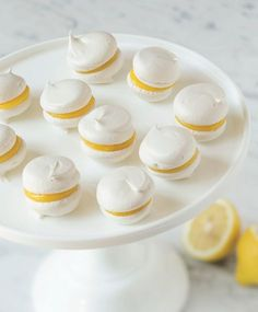 Mini Lemon Meringue Whoopie Pies with Lemon Curd Filling . Free tutorial with pictures on how to bake a whoopie pie in under 45 minutes by cooking and baking with granulated sugar, light brown sugar, and egg whites. Recipe posted by GMC Group. Whoopie Pies, Whoopie Pie Filling, Key Lime Pie, Lemon Curd Filling, Meringue Cookies, Meringue Kisses, Gluten Free Snacks, Pastry Recipes, Sweet Recipes