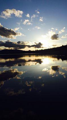 Sun setting over big bear lake