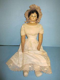 Antique German Pre Greiner Paper Mache Doll with Glass Eyes | eBay