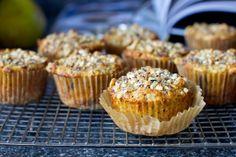 Muffins de pêra e avelã