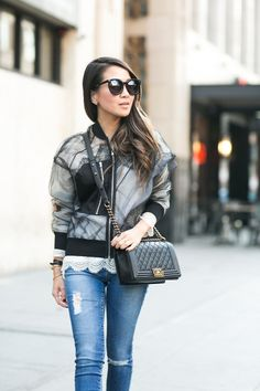 Sheer Layers :: Tulle bomber jacket & Distressed jeans :: Outfit ::  Top :: 3.1 Phillip Lim jacket , Marissa Webb top Bottom :: AG Bag :: Chanel Shoes :: Christian Louboutin Accessories :: Karen Walker sunglasses, BaubleBar ring Published: November 19, 2015