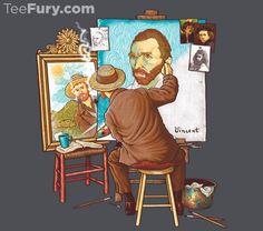 Van Gogh Triple Self-Portrait T-Shirt - Parody T-Shirt is $11 today at TeeFury!