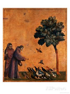 Francis of Assisi Preaching to the Birds Giclee Print by Giotto di Bondone… Francis Of Assisi, St Francis, Bird Pictures, Pictures To Paint, Spiritual Images, Bird Poster, Print Poster, Dante Alighieri, Antique Illustration