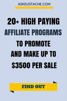 Top and high paying affiliate programs to work with and increase your commissions! Find high converting landing page programs paying up to $3500 per sale! read more >> http://askeustache.com/high-paying-affiliate-programs/